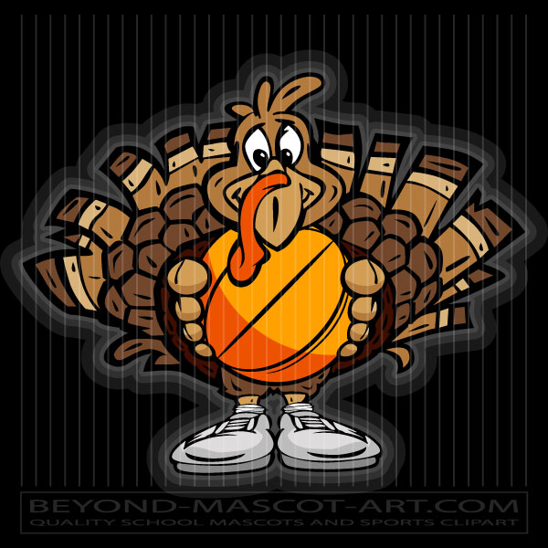 Turkey Holding Basketball Cartoon Vector Basketball Image